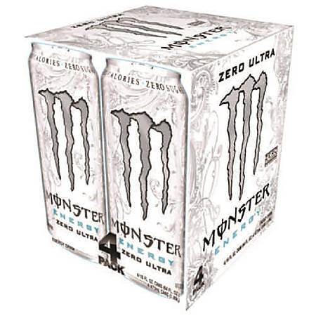 Monster Energy Drinks, Ultra Zero, 16 Oz, Pack Of 4