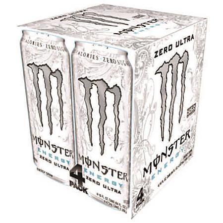 Monster Energy Drinks, Ultra Zero, 16 Oz, Pack Of 4