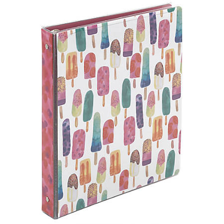 """Office Depot® Brand Fashion Binder, 1 1/2"""" Rings, Popsicle"""