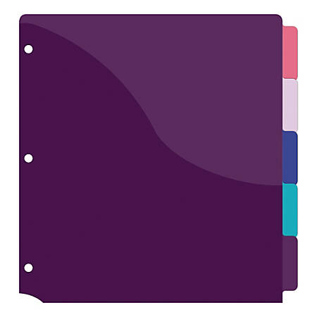 """Office Depot® Brand Fashion Poly Pocket Dividers, Letter Paper Size, 9"""" x 11"""", Assorted Colors, Pack Of 5 Dividers"""