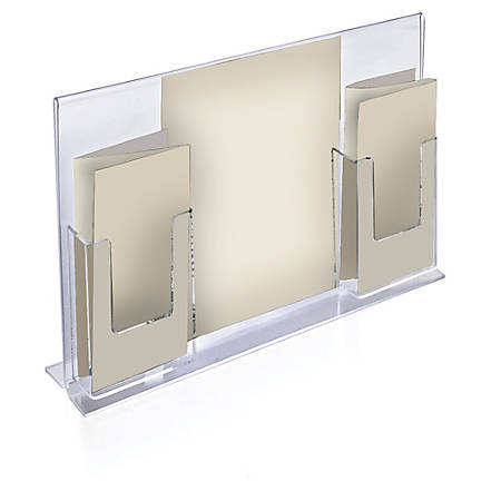"Azar Displays Double-Foot Sign Holders, With 2 Trifold Pockets, 11""H x 18""W x 4 5/8""D, Clear, Pack Of 2 Holders"