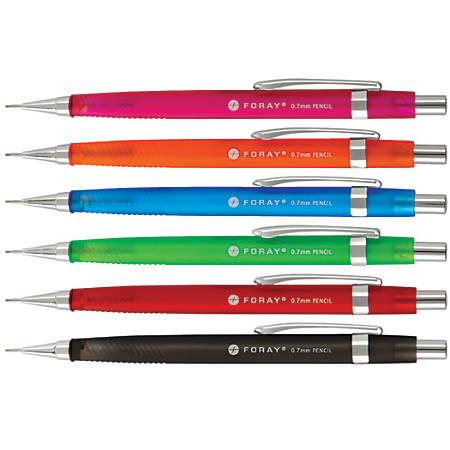 FORAY® HB Mechanical Pencils, 0.7 mm, Translucent Assorted Barrel Colors, Pack Of 6 Pencils