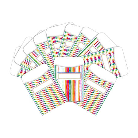 "Barker Creek Peel & Stick Library Pockets, 3"" x 5"", Stripes, Pack Of 60 Pockets"
