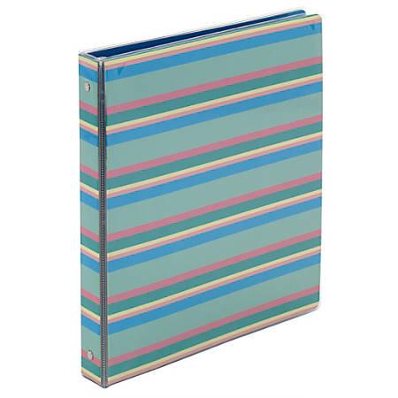 "Office Depot® Brand Fashion Binder, 1-1/2"" Rings, Stripes"