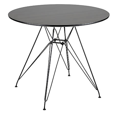 Lumisource Avery Mid-Century Modern Dining Table, Round, Walnut/Black