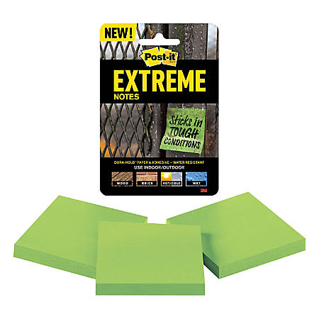 """Post-it® Extreme Notes, 3"""" x 3"""", Green, Pack Of 3 Pads"""