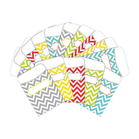 "Barker Creek Peel & Stick Library Pockets, 3"" x 5"", Beautiful Chevron, Pack Of 60 Pockets"