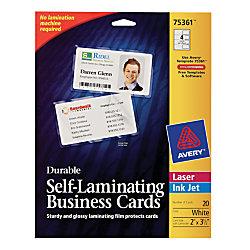 Avery self laminated business cards 2 14 x 3 12 white pack of 20 by avery self laminated business cards 2 14 x 3 1 reheart Choice Image