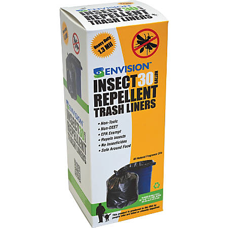 Stout Insect Repellent Trash Liners, 30 Gallon, 51.1 Mil, Black, Box Of 10