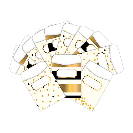 "Barker Creek Peel & Stick Library Pockets, 3"" x 5"", Gold, Pack Of 60 Pockets"