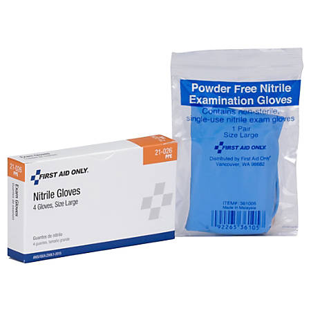 First Aid Only Disposable Nitrile Exam Gloves, Large, Blue, Pack Of 4