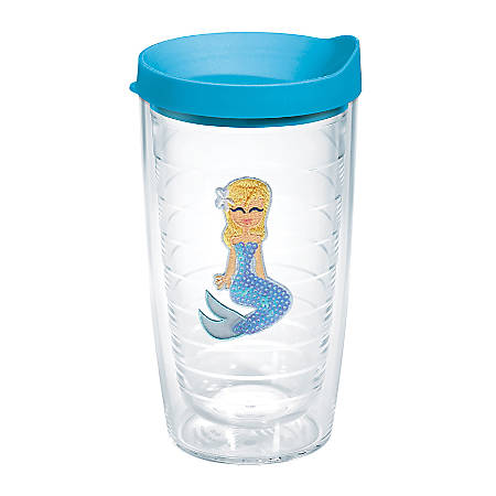 Tervis Mermaid Tumbler With Lid, Blue Sequin, 16 Oz, Clear
