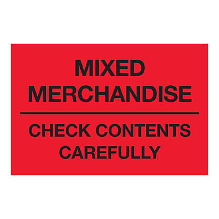 "Tape Logic Labels, ""Mixed Merchandise Check Contents Carefully"", Rectangular, DL1621, 2"" x 3"", Fluorescent Red, Roll Of 500 Labels"
