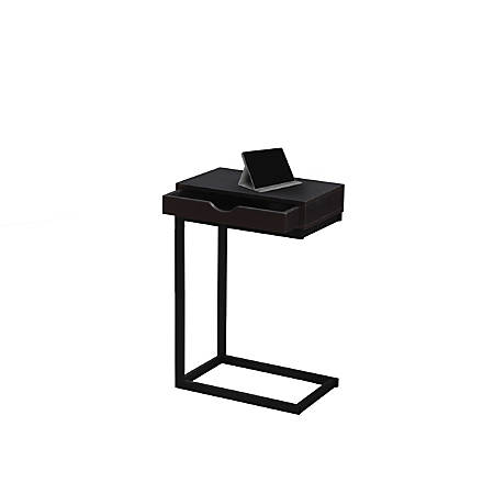 Monarch Specialties Accent Table With Side Drawer, Cappuccino/Black