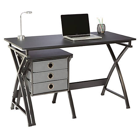 "Brenton Studio® X-Cross 48""W Desk And File Set, Black"