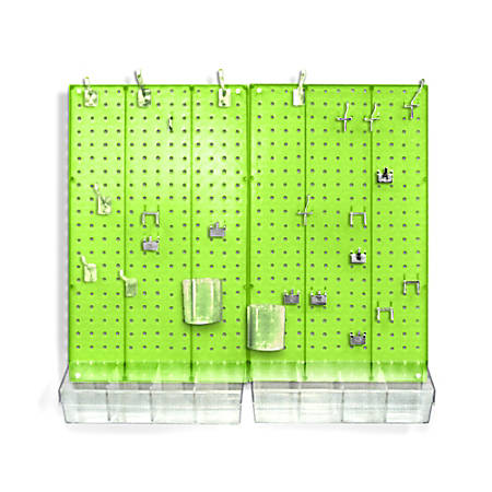 Azar Displays 70-Piece Pegboard Organizer Kit, Green