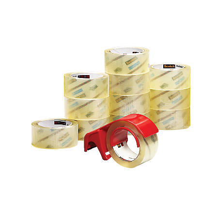 "Scotch® Commercial Grade Packing Tape In Dispenser, 1 7/8"" x 54.6 Yd., Pack Of 12"