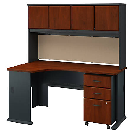 Bush Business Furniture Office Advantage Left Corner Desk With Hutch And Mobile File Cabinet, Hansen Cherry/Galaxy, Premium Installation
