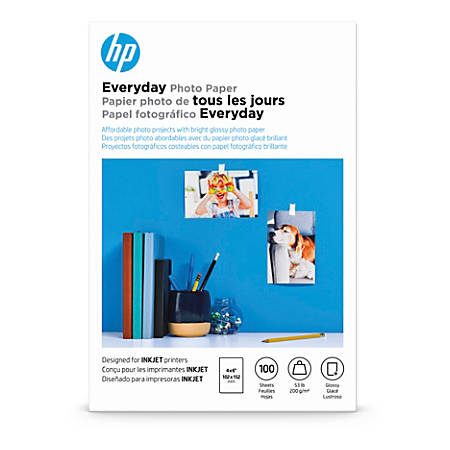 """HP Everyday Photo Paper for Inkjet Printers, Glossy, 4"""" x 6"""", 53 Lb, Pack Of 100 Sheets (CR759A)"""