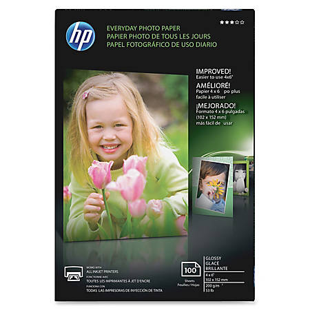 """HP Everyday Photo Paper, 4"""" x 6"""", Glossy, 53 Lb, Pack Of 100 Sheets"""