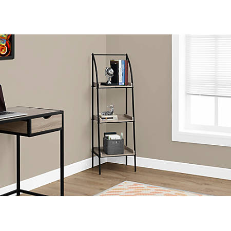 Monarch Specialties 3-Shelf Backless Metal Bookcase, Dark Taupe/Black