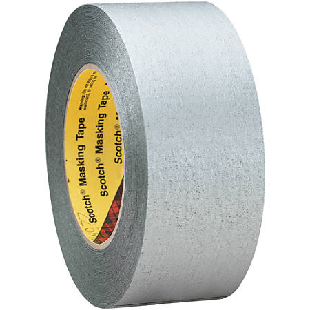 "3M™ 225 Masking Tape, 3"" Core, 2"" x 180', Silver, Pack Of 3"