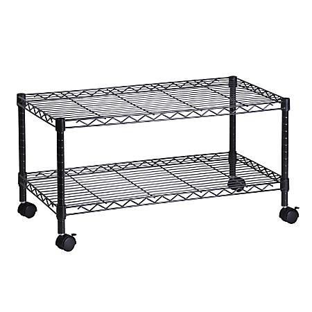 "Honey-Can-Do Steel Wire Cart, 2 Tier, 19 1/2""H x 36""W x 18""D, Black"