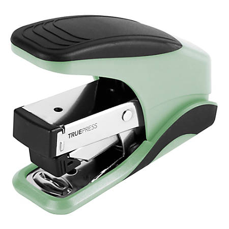 Office Depot® Brand TruePress Reduced Effort Mini Stapler, Black/Mint