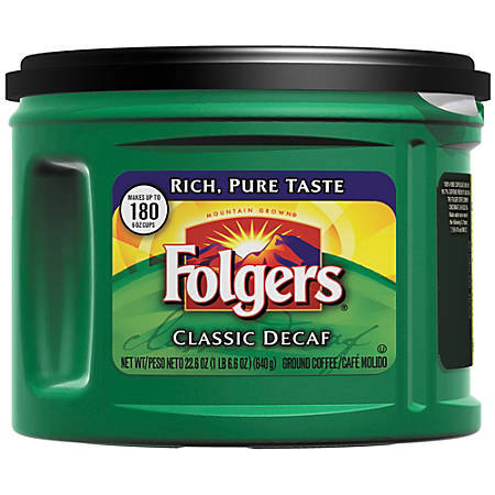 Folgers Classic Roast Decaffeinated Coffee, 22.6-Oz Canister