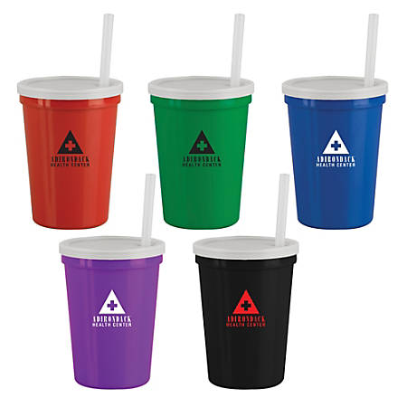 Stadium Cup With Lid And Straw, 16 Oz.