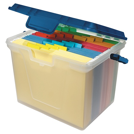 Office Depot Brand Portable File Box 10 1116 H X 14 W 38 D Clearnavy By Officemax