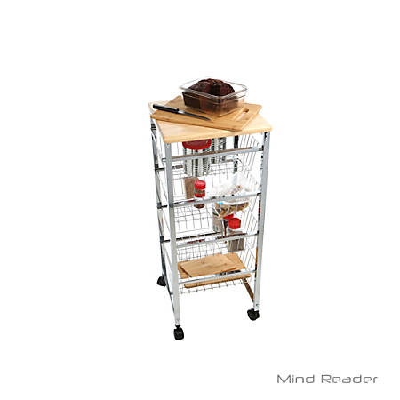 Mind Reader 4-Tier Stainless-Steel Wire Basket Cart With Wood Surface, Silver
