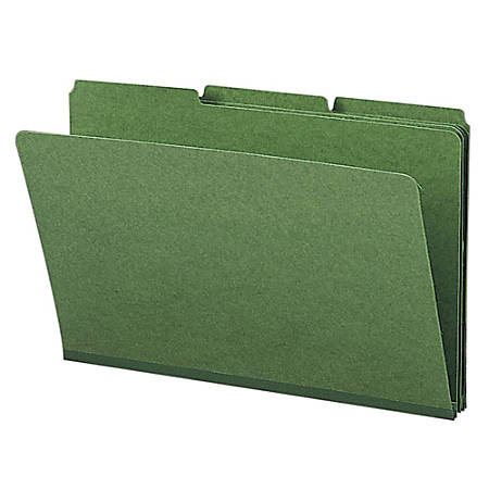 Smead® 1/3-Cut Color Pressboard Tab Folders, Legal Size, 50% Recycled, Green, Box Of 25