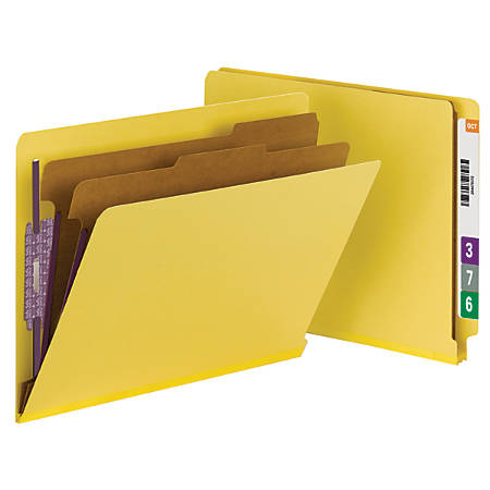 """Smead® End-Tab Classification Folders, With SafeSHIELD® Fasteners, 8 1/2"""" x 11"""", 2 Divider, 100% Recycled, Yellow, Pack Of 10"""