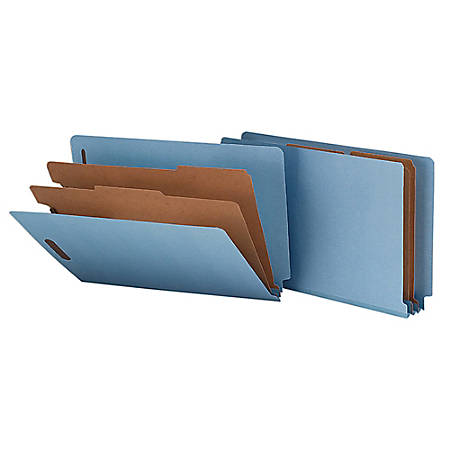 """Smead® End-Tab Classification Folders, 8 1/2"""" x 14"""", 2 Divider, 2 Partition, 50% Recycled, Blue, Pack Of 10"""