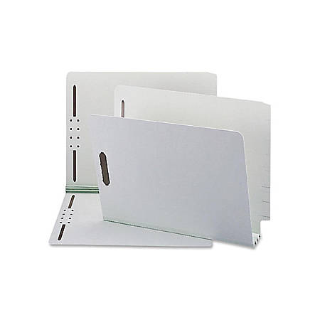 "Smead® Pressboard End-Tab Folders With SafeSHIELD® Fasteners, Straight-Cut, 3"" Expansion, Letter Size, 60% Recycled, Gray/Green, Box Of 25"