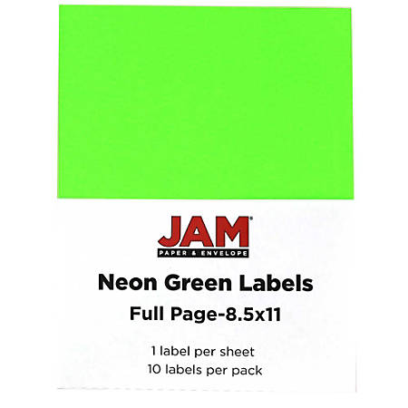"""JAM Paper® Full-Page Mailing And Shipping Labels, 337628609, 8 1/2"""" x 11"""", Neon Green, Pack Of 10"""