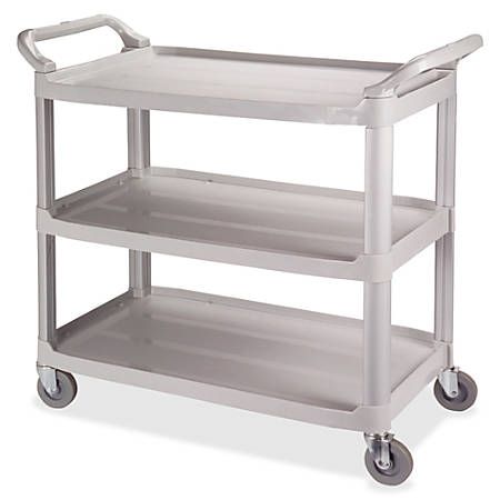 """Impact Products 3-Shelf Bussing Cart - 3 Shelf - 200 lb Capacity - 4"""" Caster Size - 40"""" Length x 20"""" Width x 38"""" Height - Gray"""