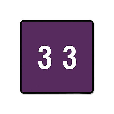 "Smead® DCC and DCCRN Color-Coded Numeric Labels, SMD67423, ""Number"", 1 1/2""W x 1 1/2""L, Purple, 250 Per Roll"