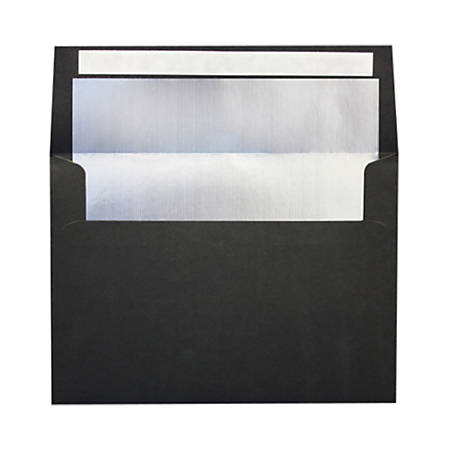 """LUX Foil-Lined Invitation Envelopes With Peel & Press Closure, A4, 4 1/4"""" x 6 1/4"""", Black/Silver, Pack Of 50"""