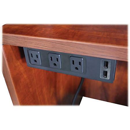 Lorell AC Power Center - 3 x AC Power, 2 x USB - Black
