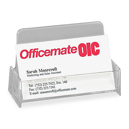 OIC® Broad Base Business Card Holder, Clear