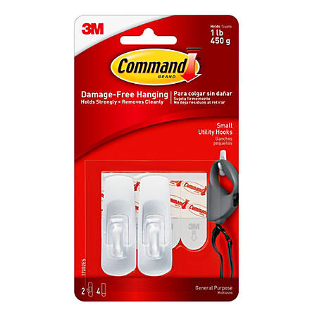 3M™ Command™ General Purpose Hooks, Small, 1-Lb Capacity, Pack Of 2
