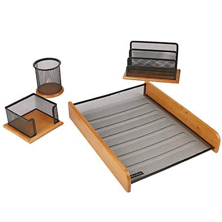 Mind Reader 4-Piece Wood Desk Organizer Set, Black