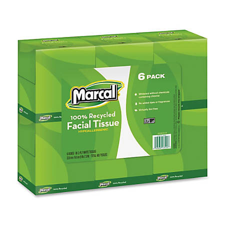 Marcal® 100% Recycled Premium Fluff-Out Cube Facial Tissue, 80 Sheets Per Box, Case Of 6 Boxes