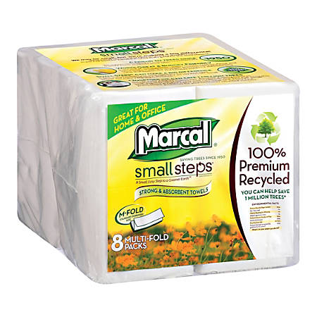 Marcal Multi-Fold 1-Ply Paper Towels, Pack Of 2,000