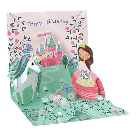 "Up With Paper Everyday Pop-Up Greeting Card, 5-1/4"" x 5-1/4"", Princess And Unicorn"