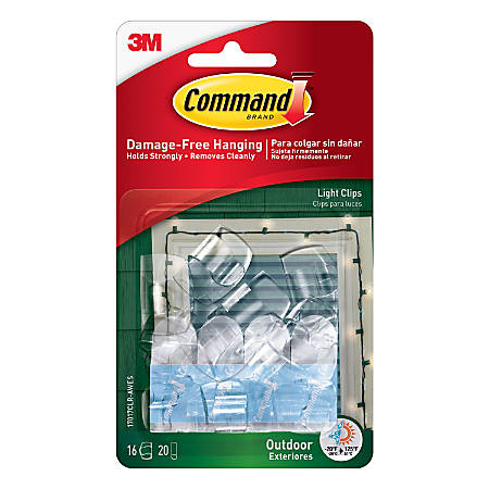 """Command™ Outdoor Light Clips With Foam Strips, 3/4"""" x 1 1/4"""" x 1"""", Clear, Pack Of 16"""
