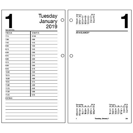 """AT-A-GLANCE® Daily Loose-Leaf Desk Calendar Refill, 4 1/2"""" x 8"""", January to December 2019"""