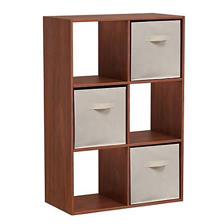 Homestar North America 6-Cube Bookcase With Bins, Cherry